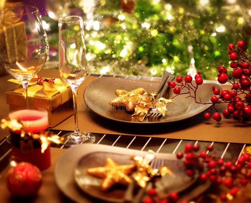 Jultabellinställning arkivfoto