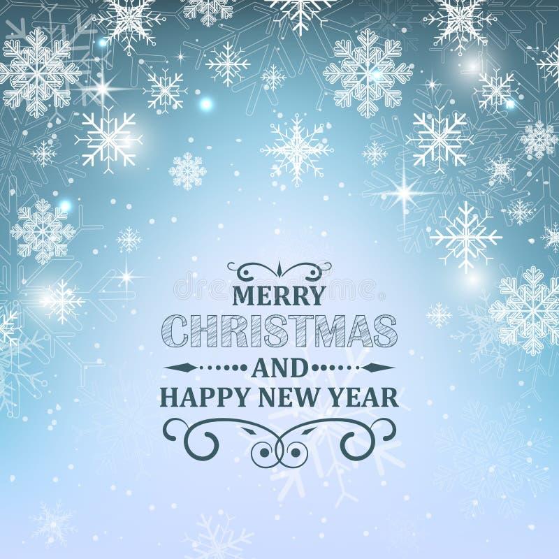 Jultapetbakgrund Den glödande blåa illustrationen med snö, snöflingor, stjärnor och blänker vektor illustrationer