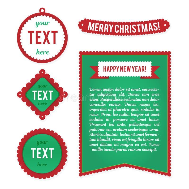 Jultecken, etiketter, etiketter Mallar för hälsningkort, advertizingbroschyrer, befordringar, reklamblad Vektortecken stock illustrationer