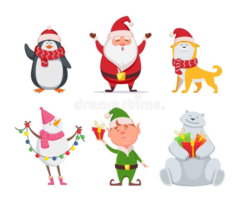 Jultecken i tecknad filmstil Jultomten gul hund, älva Pingvin och snögubbe vektor illustrationer