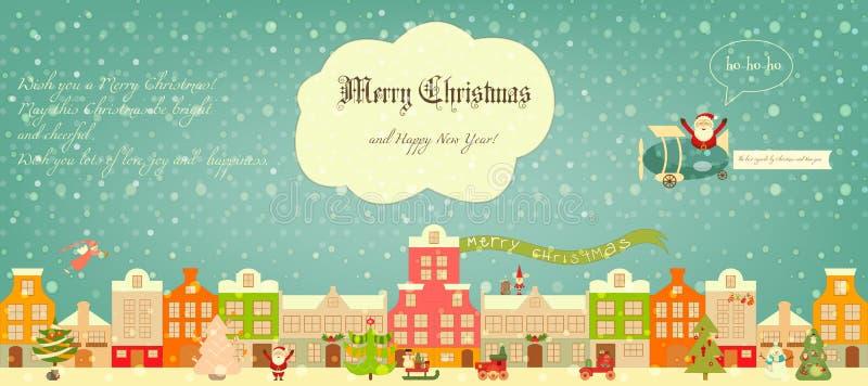 Jultecken på stad royaltyfri illustrationer
