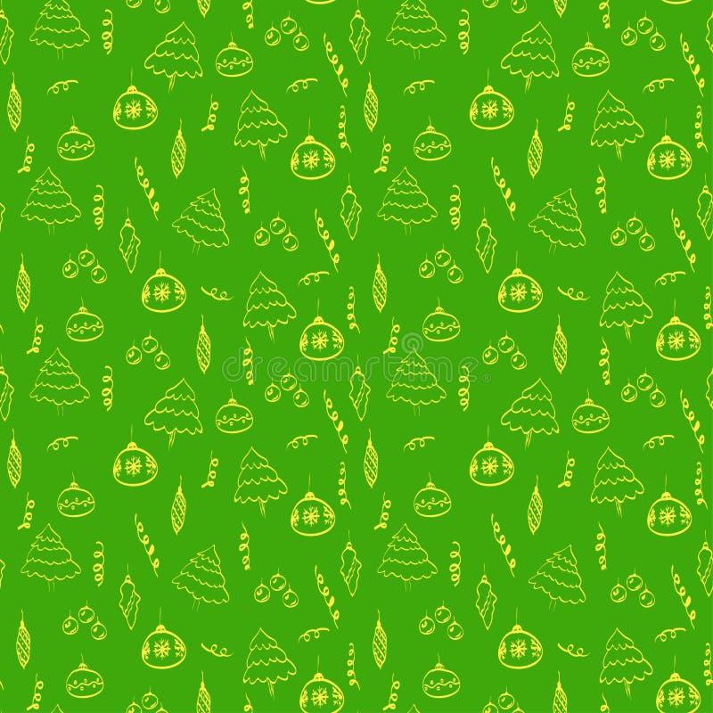 Julteckningar som dras i guling på ett ljust - grön bakgrund stock illustrationer