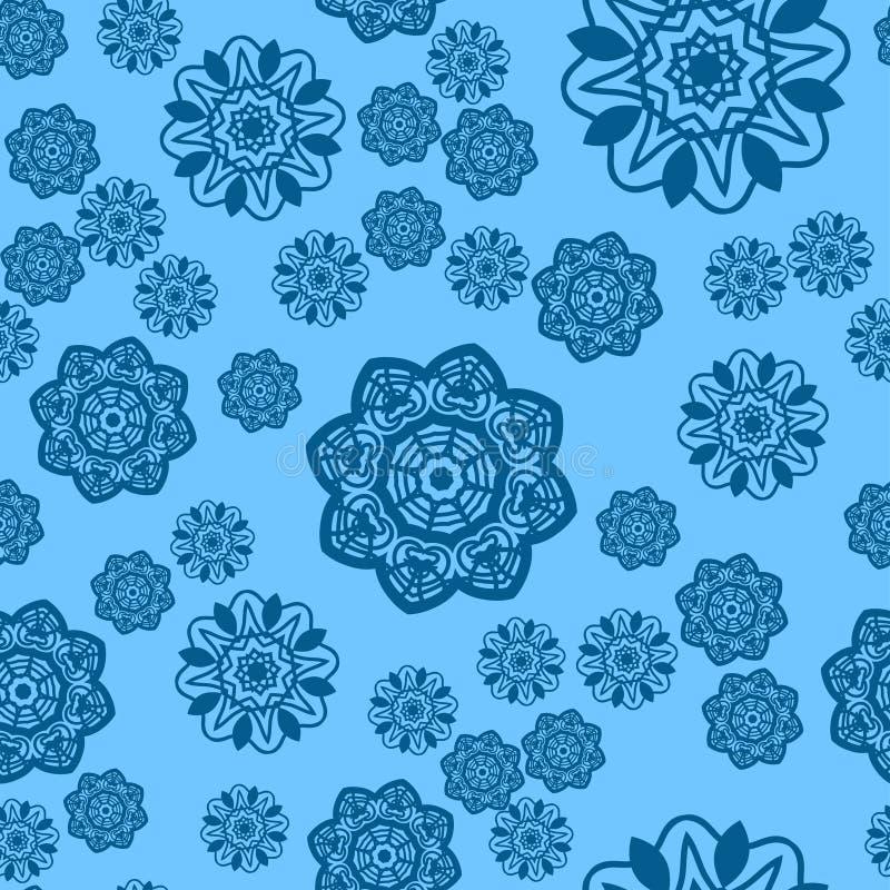 Jultegelplatta Utsmyckad snöflinga i bakgrund för vektor för julfestivalbild stock illustrationer