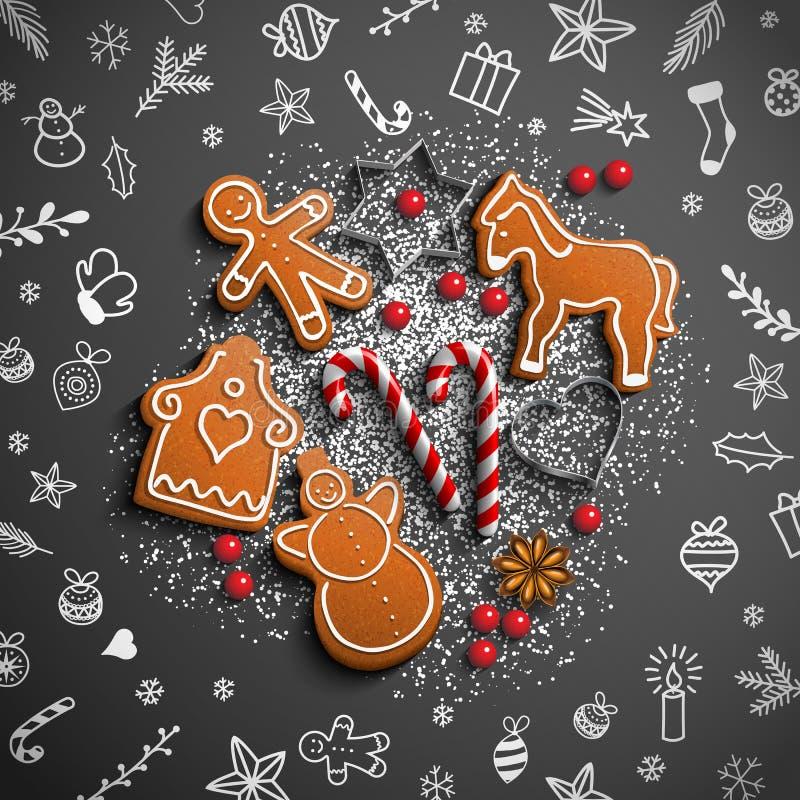 Jultema med den vitklotter och pepparkakan royaltyfri illustrationer