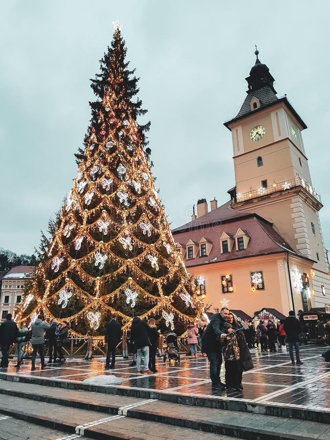 Jultid i Rumänien Skönheten av en av det mest högväxta julträdet i landet royaltyfria bilder