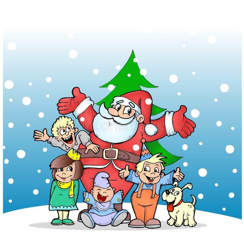 Jultomte med ungar och förföljer stock illustrationer