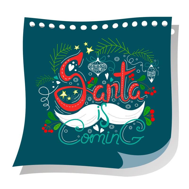Jultomten är kommande bokstäver som göras i unik stil på en kupong Handdrawn design Stjärnor, garneringar, sidor och bär med en m vektor illustrationer