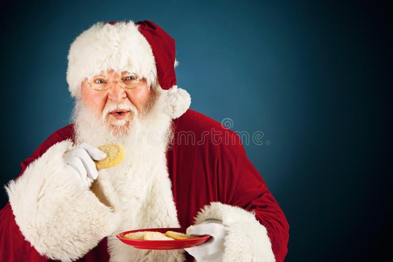 Jultomten: Äta en Sugar Cookie royaltyfri foto