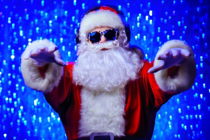 Jultomten för diskoparti fotografering för bildbyråer