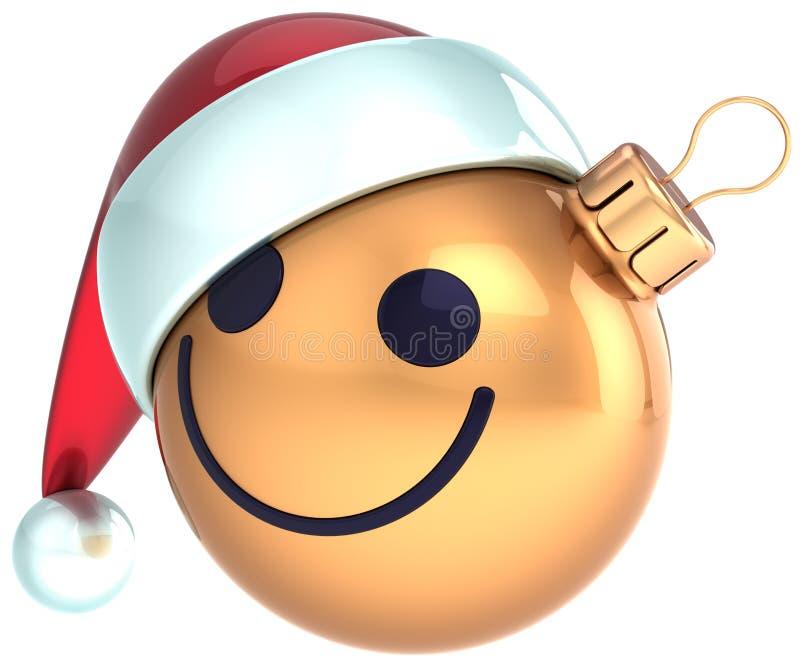 Jultomten för lyckligt nytt år för framsida för julbollsmiley guld- royaltyfri illustrationer