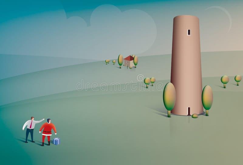 Jultomten frågar för riktningar stock illustrationer