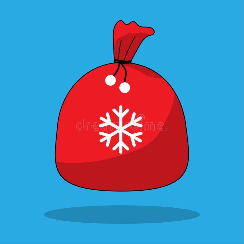 Jultomten hänger löst med snöflingavektorillustrationen med skuggor symbol Tecknad filmstil Affisch kort redigerbart stock illustrationer
