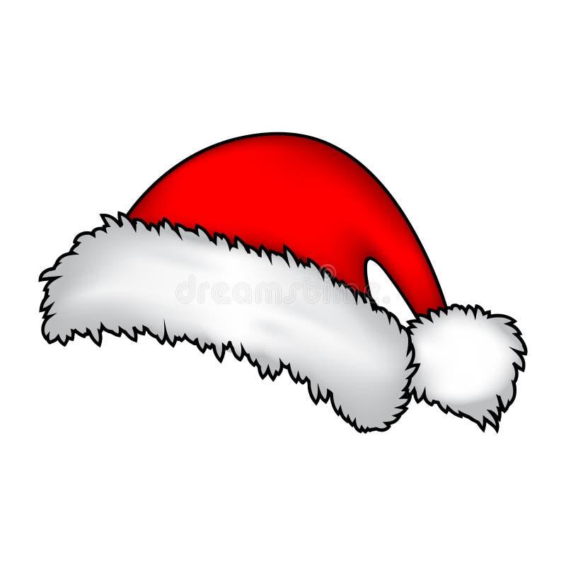Jultomten hatten, jul cap symbolen, symbolet, design Vintervektorillustration på vit bakgrund stock illustrationer