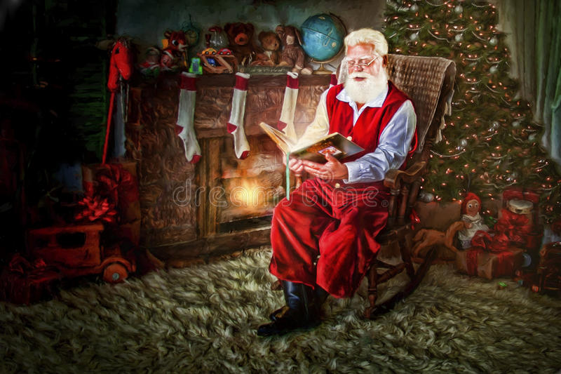 Jultomten i gungstol med boken royaltyfria foton