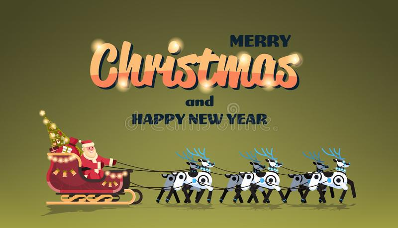 Jultomten i släde med vinter för kort för hälsning för lyckligt nytt år för glad jul för konstgjord intelligens för robotrenar vektor illustrationer