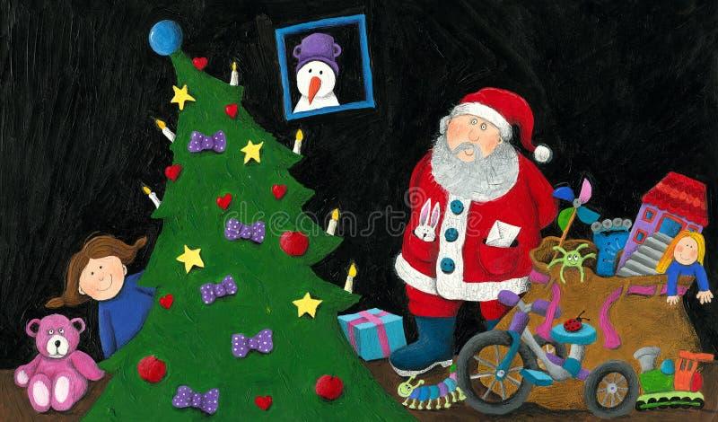 Jultomten, liten flicka, säck med leksaker och julgran royaltyfri illustrationer
