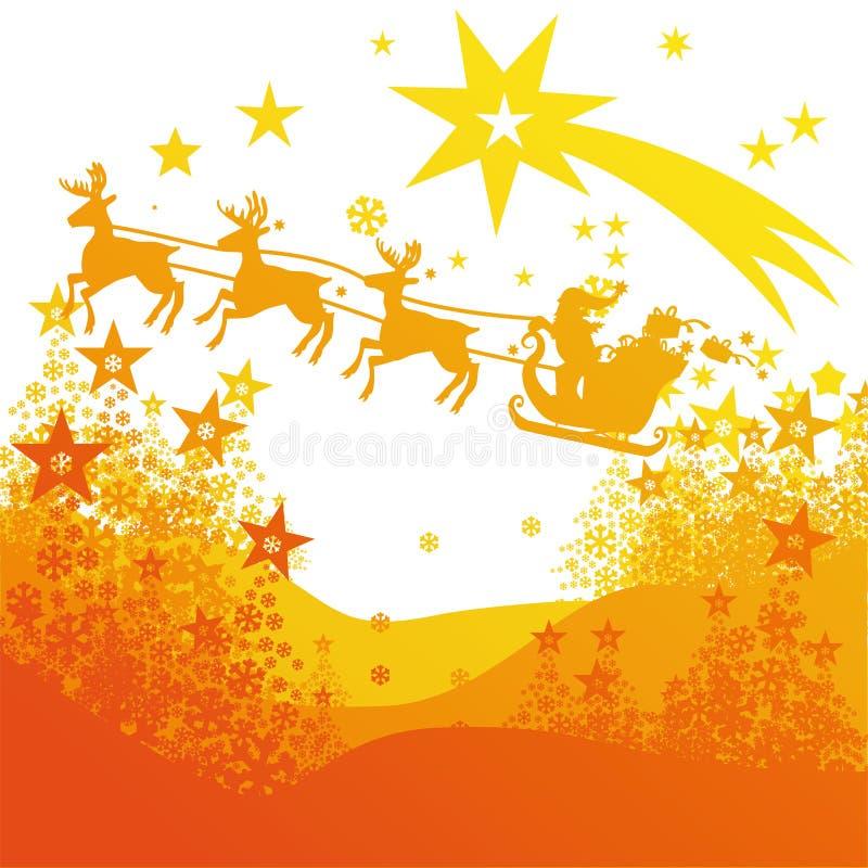 Jultomten med den rensläden och komet royaltyfri illustrationer