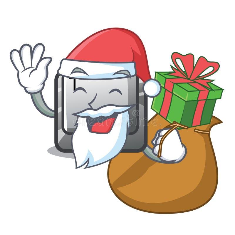 Jultomten med gåvaknapp T i maskotformen royaltyfri illustrationer