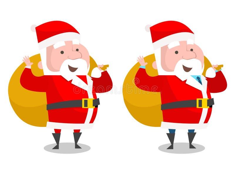 Jultomten med gåvan hänger löst, chefen, som jultomten med gåvan hänger löst vektor illustrationer