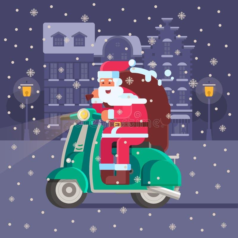 Jultomten med gåvapåsen på julsparkcykeln royaltyfri illustrationer