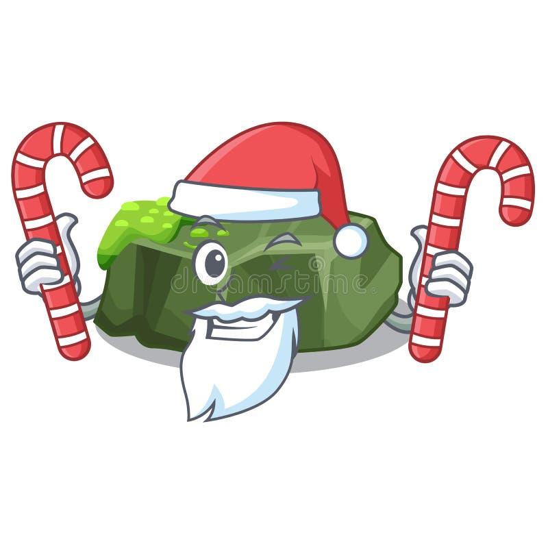 Jultomten med godisgräsplan vaggar mossa som isoleras på tecknad film vektor illustrationer