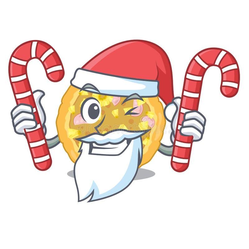 Jultomten med godishawaiibopizza ovanför trätecknad filmtabellen stock illustrationer