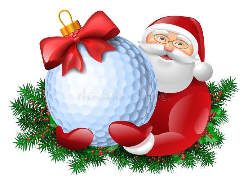 Jultomten med golfboll stock illustrationer