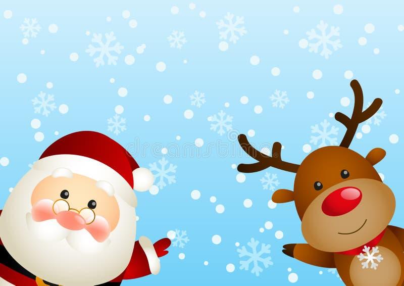 Jultomten med hjortar vektor illustrationer