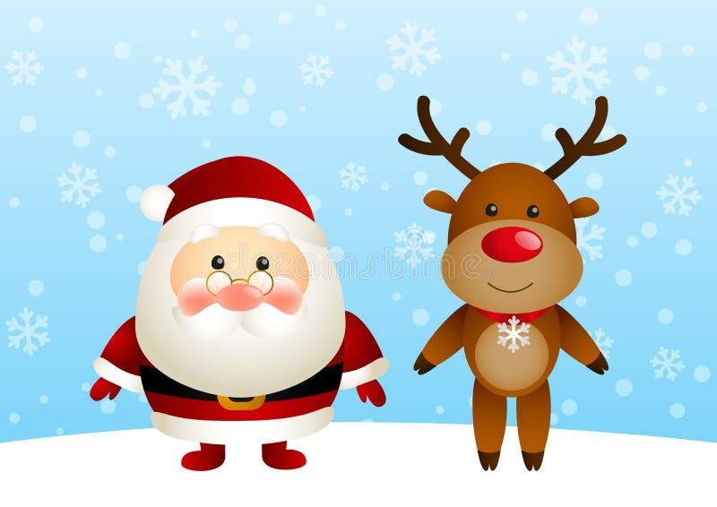 Jultomten med roliga hjortar stock illustrationer