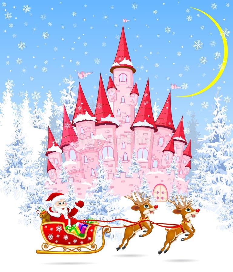 Jultomten och deers på bakgrunden av en rosa slott stock illustrationer