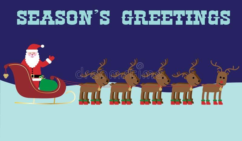 Jultomten och grafiska rensäsonghälsningar royaltyfri illustrationer