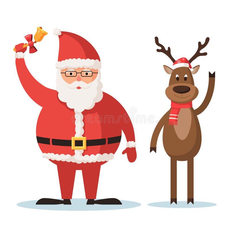 Jultomten och julhjortarna royaltyfri illustrationer