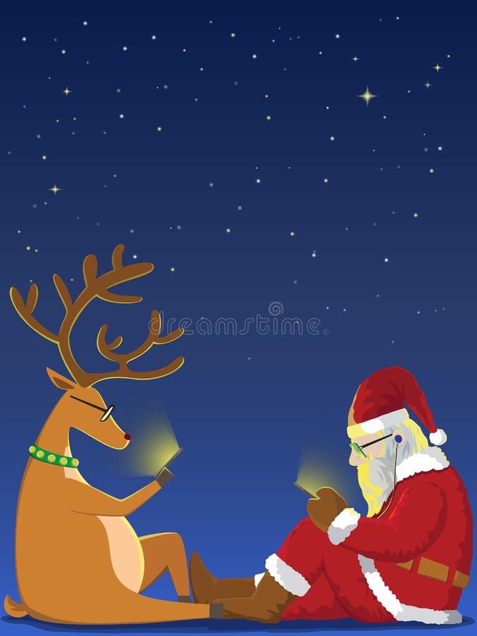 Jultomten och ren som spelar smartphonen stock illustrationer
