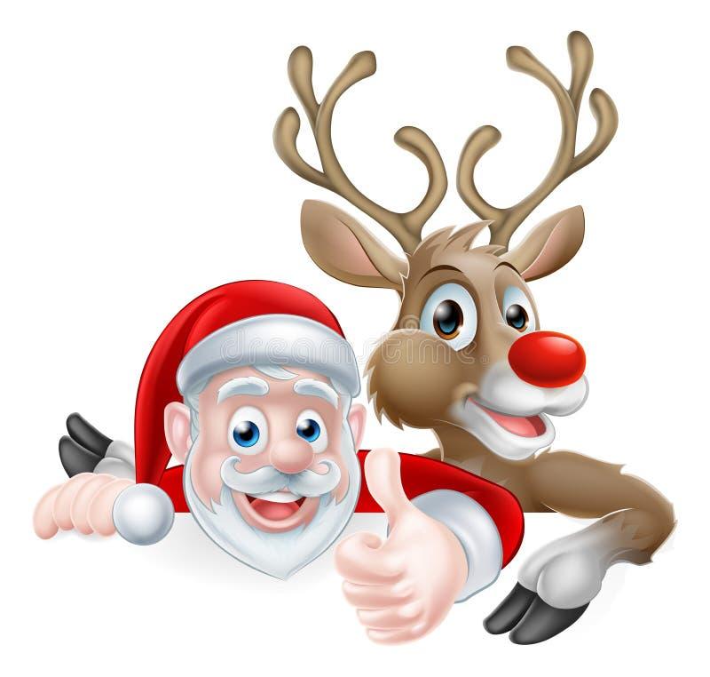 Jultomten och rentecken royaltyfri illustrationer