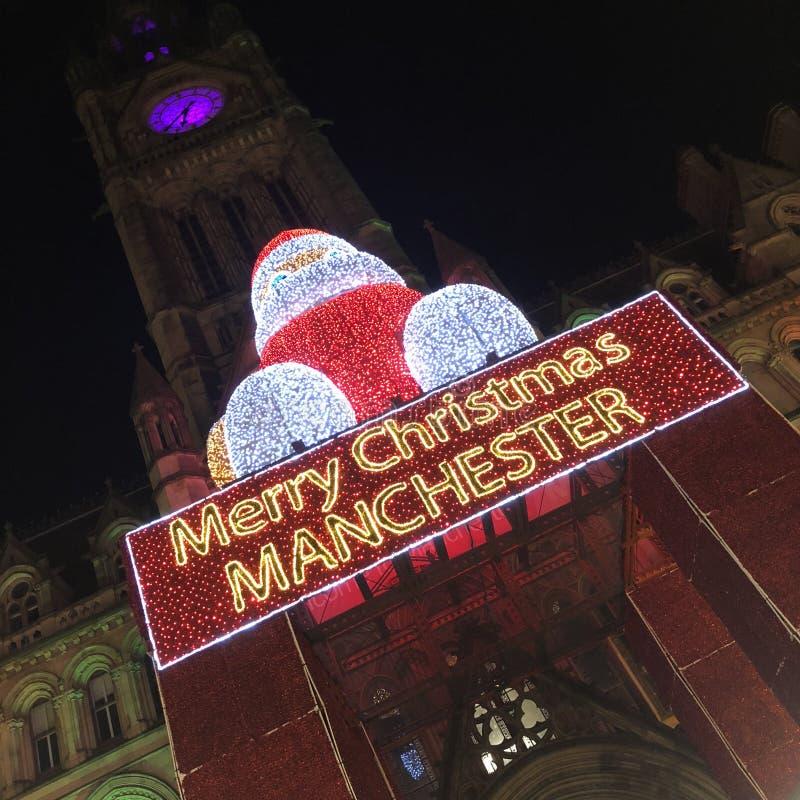 Jultomten på den Manchester julmarknaden royaltyfria bilder