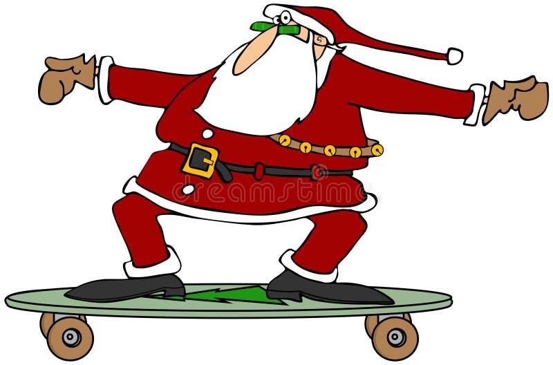 Jultomten på en skateboard vektor illustrationer