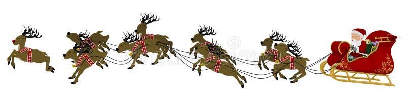 Jultomten på släde vektor illustrationer