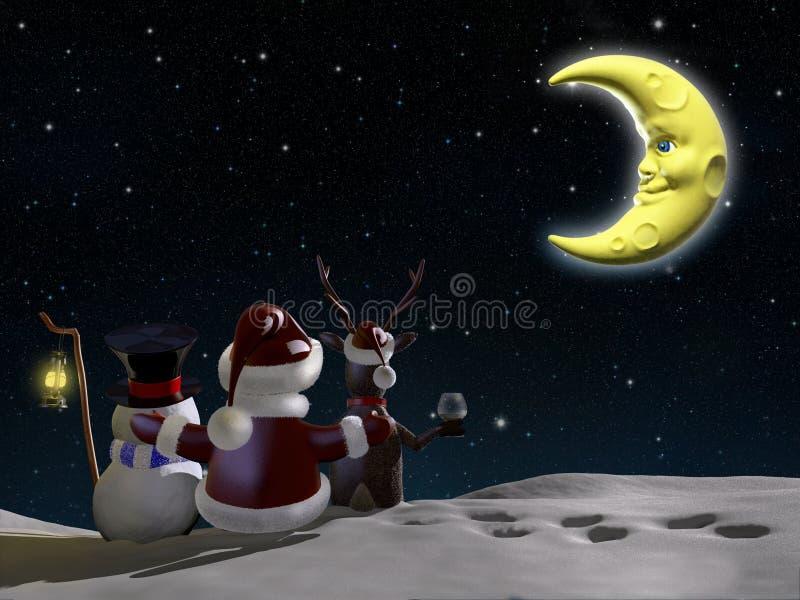 Jultomten, ren och frostigt stock illustrationer