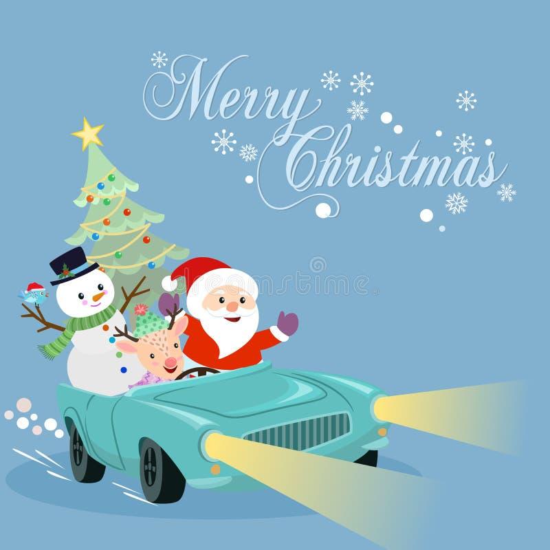 Jultomten snögubbe och hjortar på bilen royaltyfri illustrationer