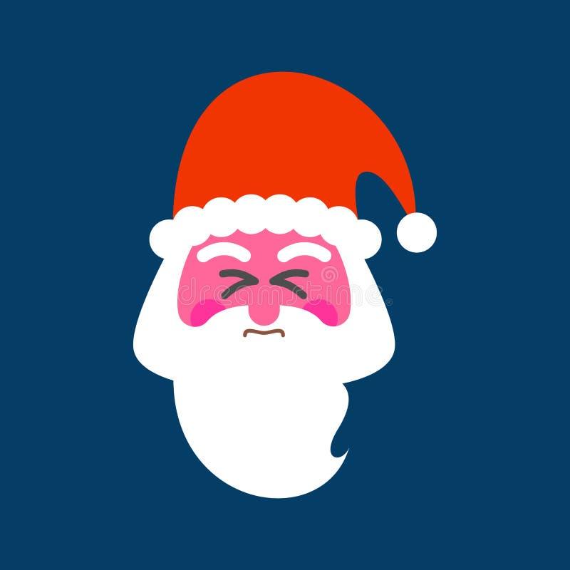 Jultomten som anstränger framsidan Röd framsida av julfarfadern lyckligt n stock illustrationer