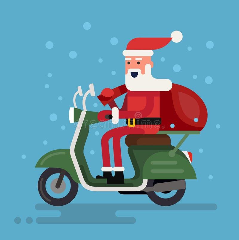 Jultomten som går på en sparkcykel royaltyfri illustrationer