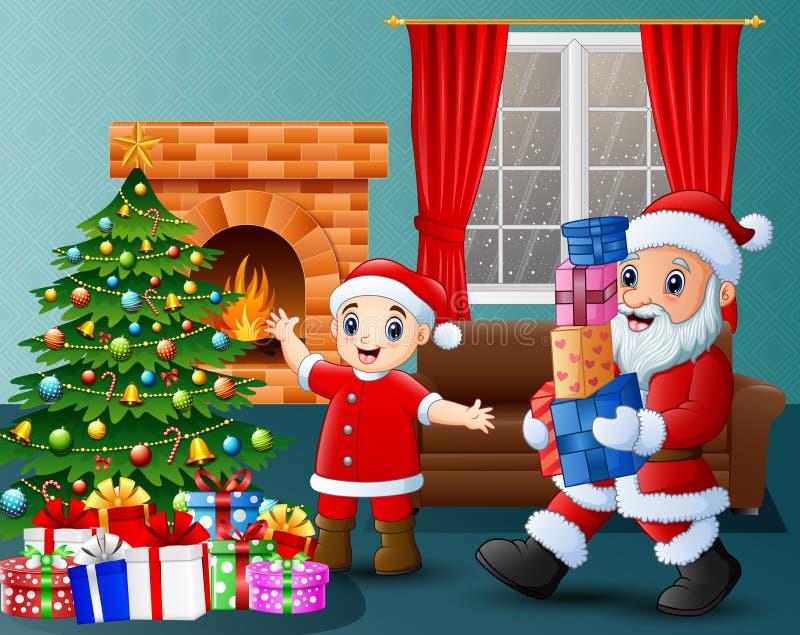 Jultomten som kommer med den gåvaasken och ungen i vardagsrummet med jul och garnering för nytt år royaltyfri illustrationer