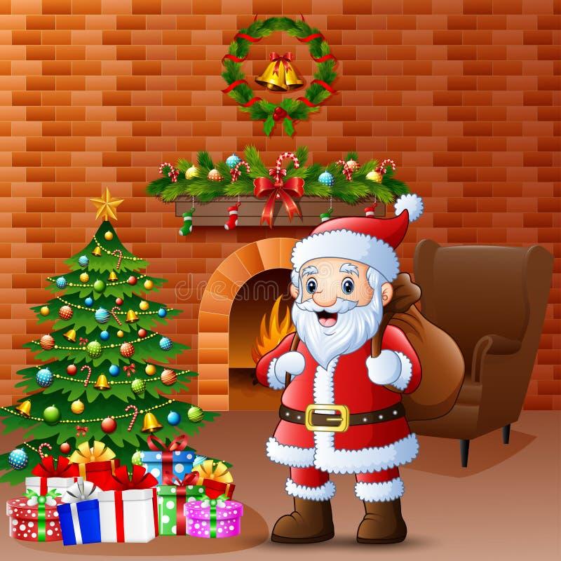Jultomten som kommer med säcken i vardagsrummet med jul och garnering för nytt år stock illustrationer