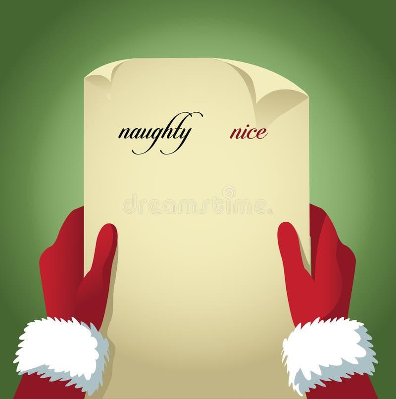 Jultomten som kontrollerar hans stygga och trevliga lista royaltyfri illustrationer