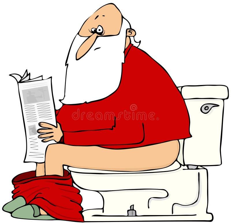 Jultomten som läser tidningen royaltyfri illustrationer