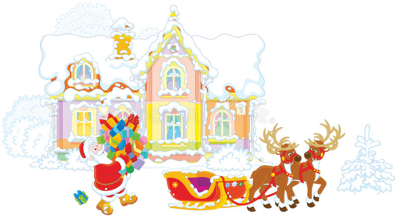 Jultomten som laddar gåvor i hans släde arkivfoton