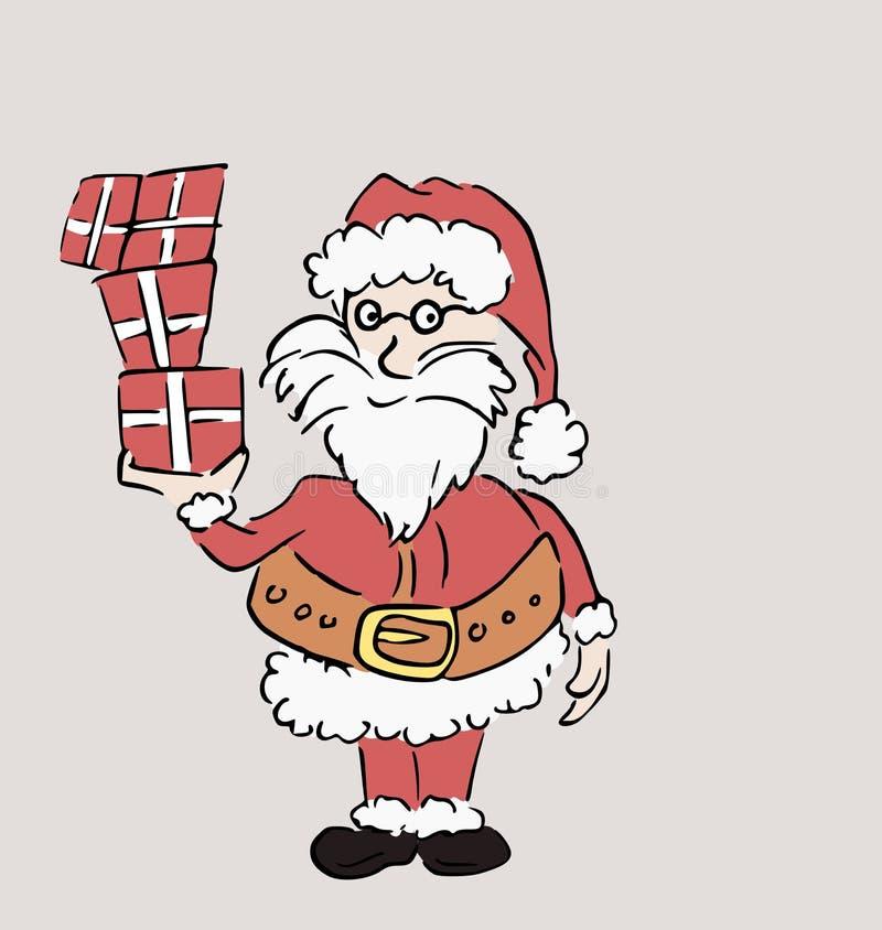 Jultomten som rymmer tre gåvor i hans hand vektor illustrationer