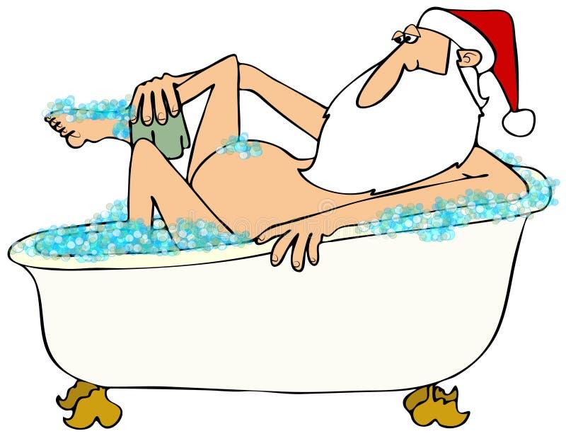 Jultomten som tar en bubbelbad stock illustrationer