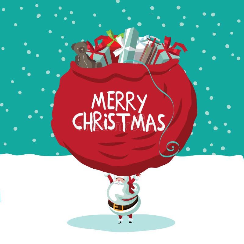 Jultomten uthärda vikten av världens gåvor på hans skuldror stock illustrationer