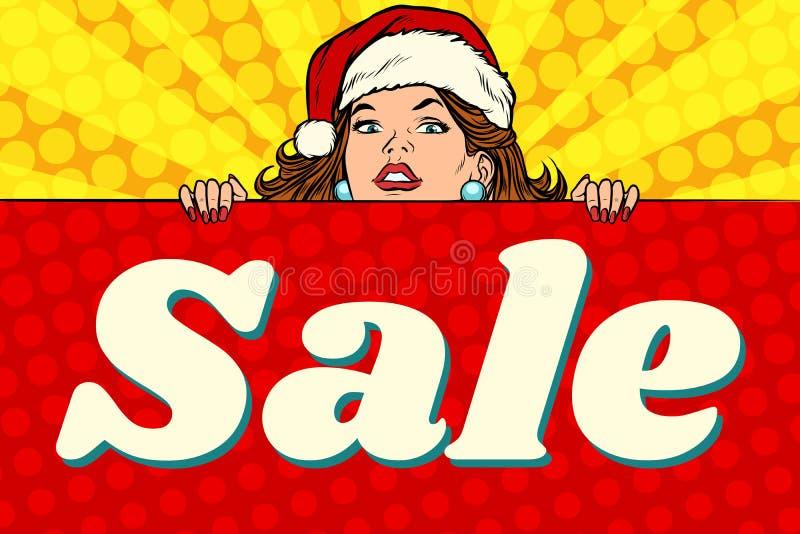 Jultomtenflicka med försäljningsaffischen royaltyfri illustrationer